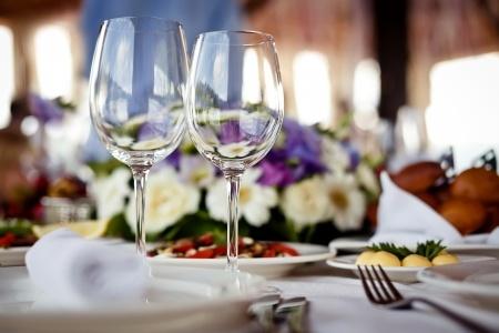 14480172 - empty glasses set in restaurant